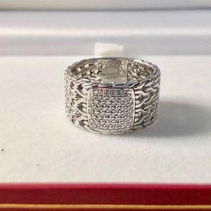 JOHN HARDY STERLING SILVER DIAMOND RING SIZE 10.75